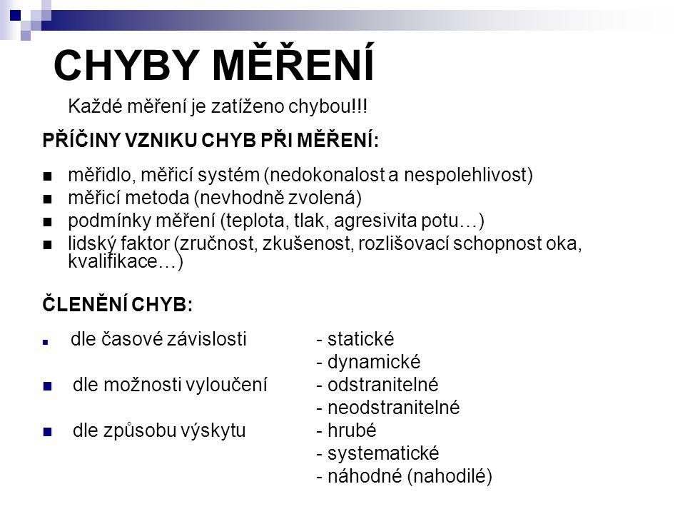 CHYBY MĚŘENÍ Každé měření je zatíženo chybou!!! PŘÍČINY VZNIKU CHYB PŘI MĚŘENÍ: měřidlo, měřicí systém (nedokonalost a nespolehlivost) měřicí metoda (