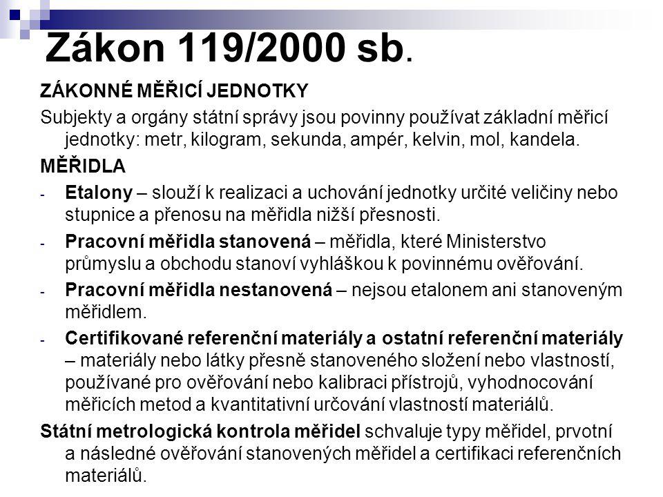Zákon 119/2000 sb. ZÁKONNÉ MĚŘICÍ JEDNOTKY Subjekty a orgány státní správy jsou povinny používat základní měřicí jednotky: metr, kilogram, sekunda, am