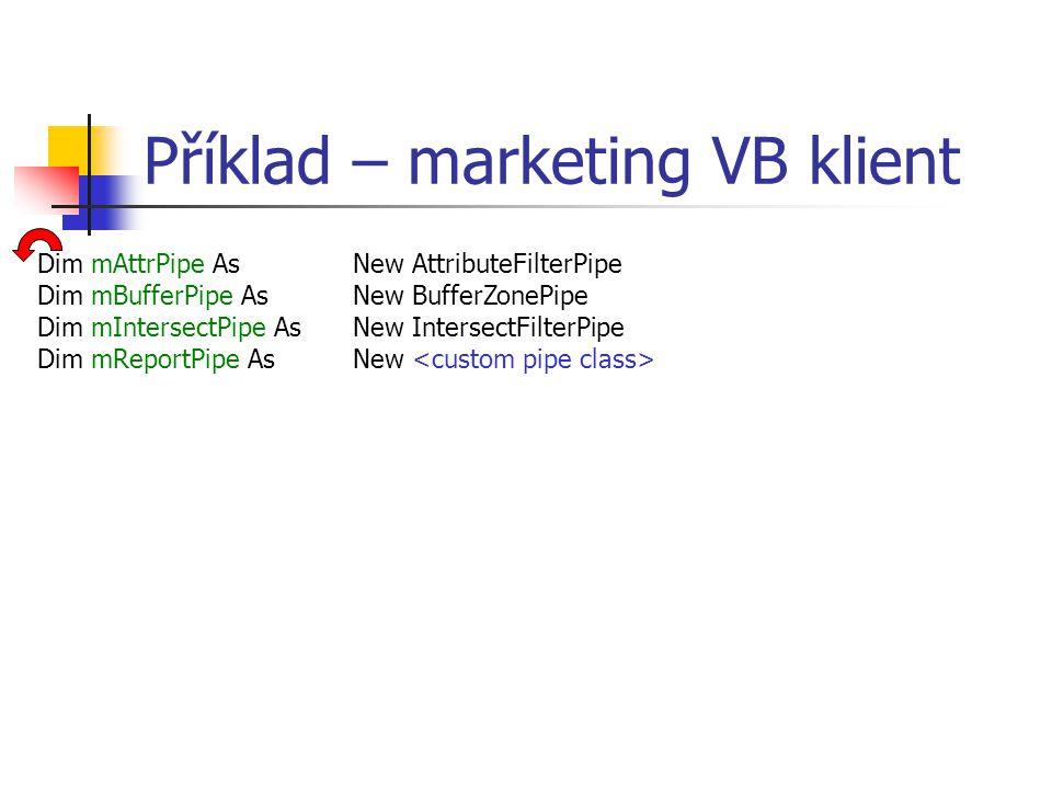 Příklad – marketing VB klient Dim mAttrPipe As New AttributeFilterPipe Dim mBufferPipe As New BufferZonePipe Dim mIntersectPipe As New IntersectFilter