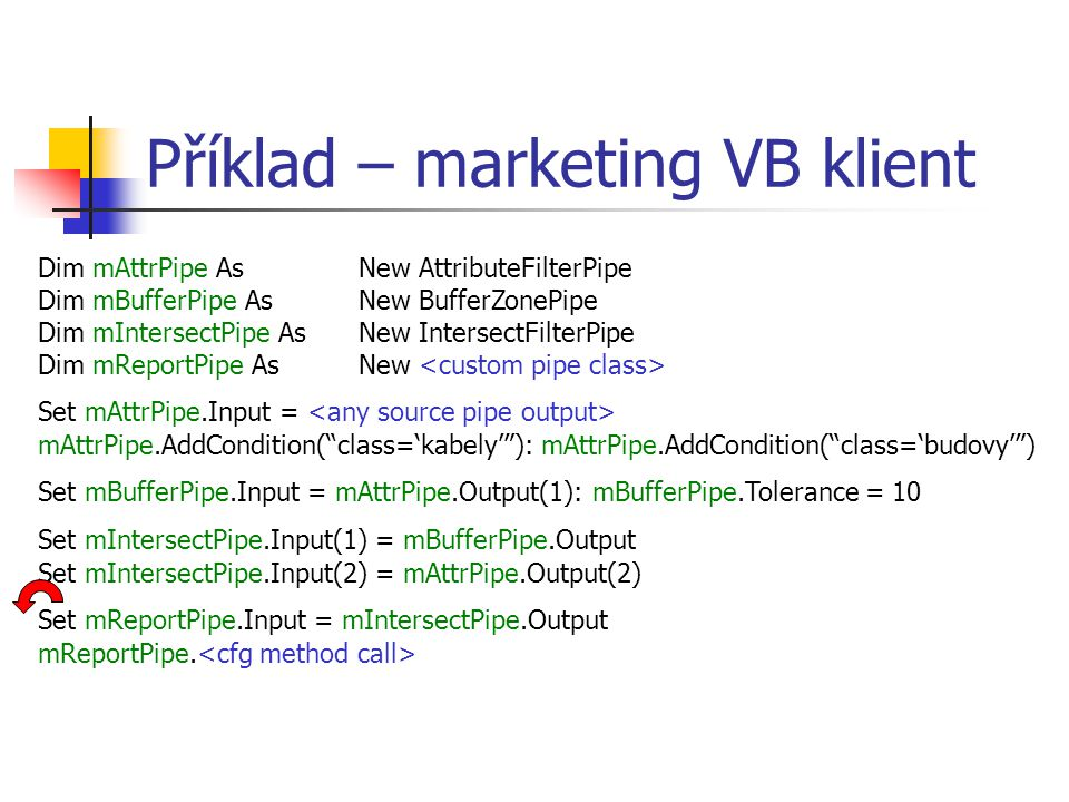 Příklad – marketing VB klient Dim mAttrPipe As New AttributeFilterPipe Dim mBufferPipe As New BufferZonePipe Dim mIntersectPipe As New IntersectFilterPipe Dim mReportPipe As New Set mAttrPipe.Input = mAttrPipe.AddCondition( class='kabely' ): mAttrPipe.AddCondition( class='budovy' ) Set mBufferPipe.Input = mAttrPipe.Output(1): mBufferPipe.Tolerance = 10 Set mIntersectPipe.Input(1) = mBufferPipe.Output Set mIntersectPipe.Input(2) = mAttrPipe.Output(2) Set mReportPipe.Input = mIntersectPipe.Output mReportPipe.