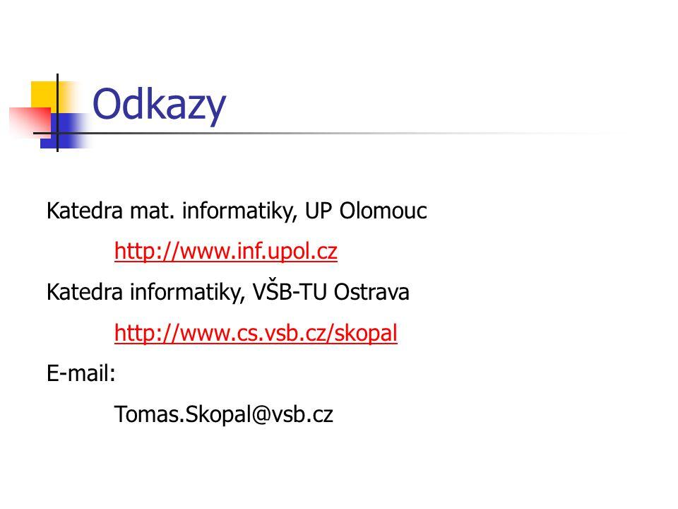 Odkazy Katedra mat. informatiky, UP Olomouc http://www.inf.upol.cz Katedra informatiky, VŠB-TU Ostrava http://www.cs.vsb.cz/skopal E-mail: Tomas.Skopa