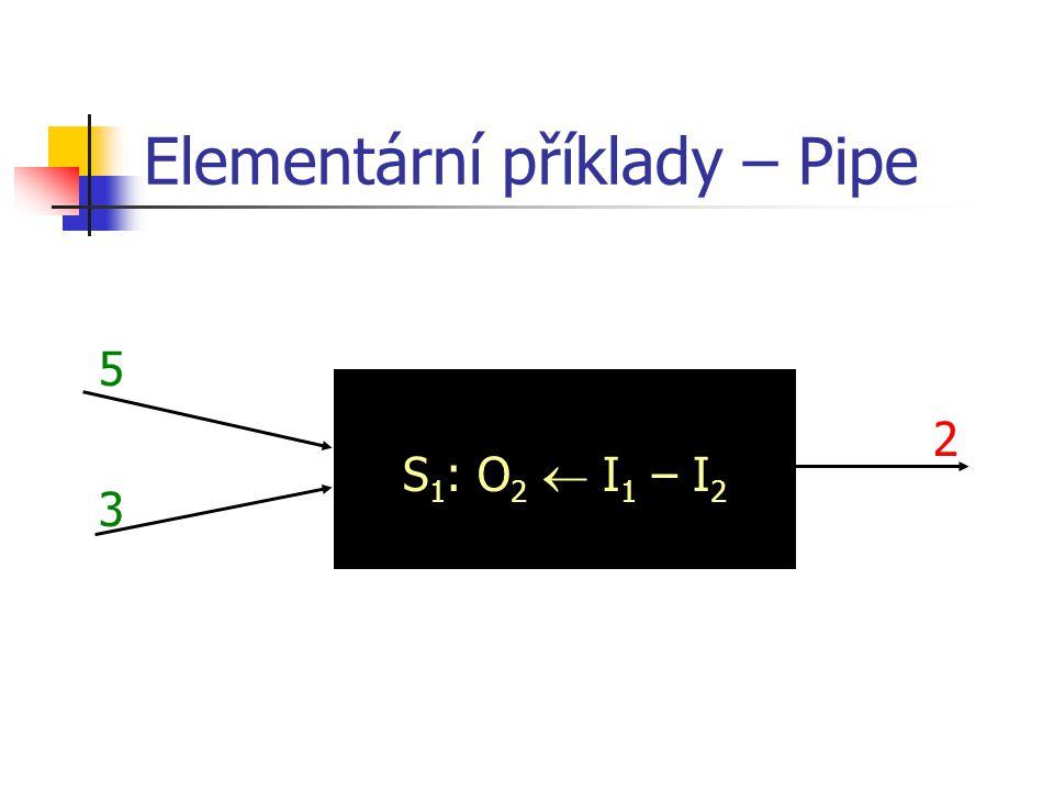 Elementární příklady – Pipe S 1 : O 1  slova a* S 2 : O 2  slova *b* automat, bota, abonent automat, abonent bota, abonent