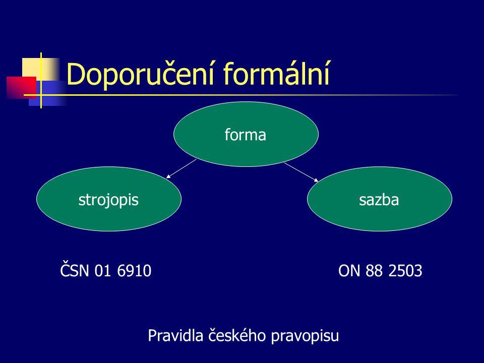 Doporučení formální forma strojopis sazba ČSN 01 6910ON 88 2503 Pravidla českého pravopisu