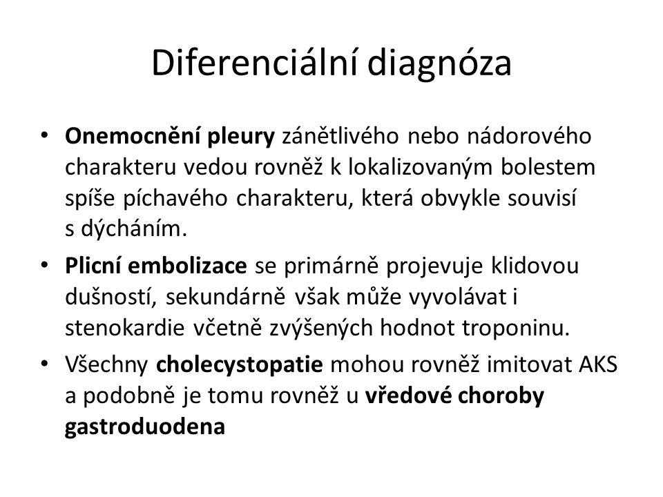 Diferenciální diagnóza Onemocnění pleury zánětlivého nebo nádorového charakteru vedou rovněž k lokalizovaným bolestem spíše píchavého charakteru, která obvykle souvisí s dýcháním.