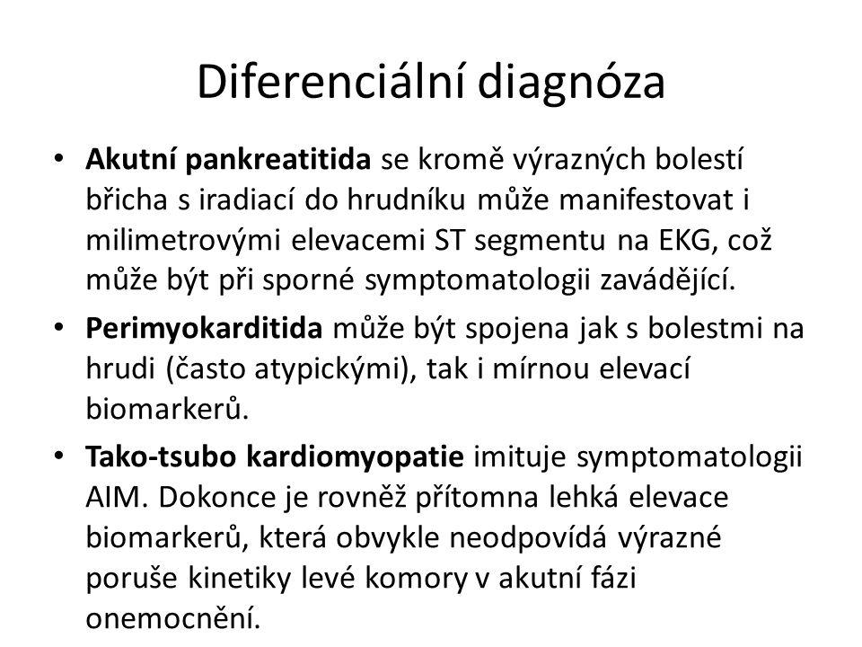 Diferenciální diagnóza Akutní pankreatitida se kromě výrazných bolestí břicha s iradiací do hrudníku může manifestovat i milimetrovými elevacemi ST segmentu na EKG, což může být při sporné symptomatologii zavádějící.