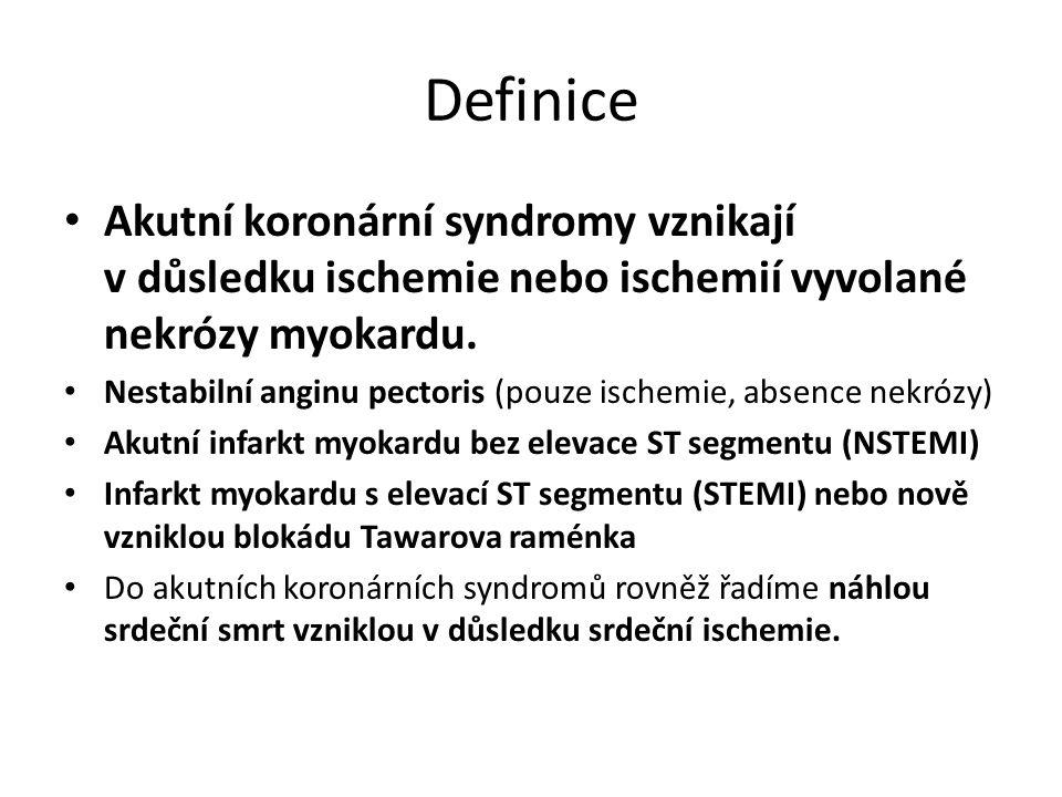 Definice Akutní koronární syndromy vznikají v důsledku ischemie nebo ischemií vyvolané nekrózy myokardu.
