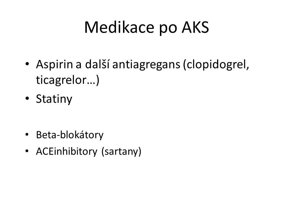 Medikace po AKS Aspirin a další antiagregans (clopidogrel, ticagrelor…) Statiny Beta-blokátory ACEinhibitory (sartany)