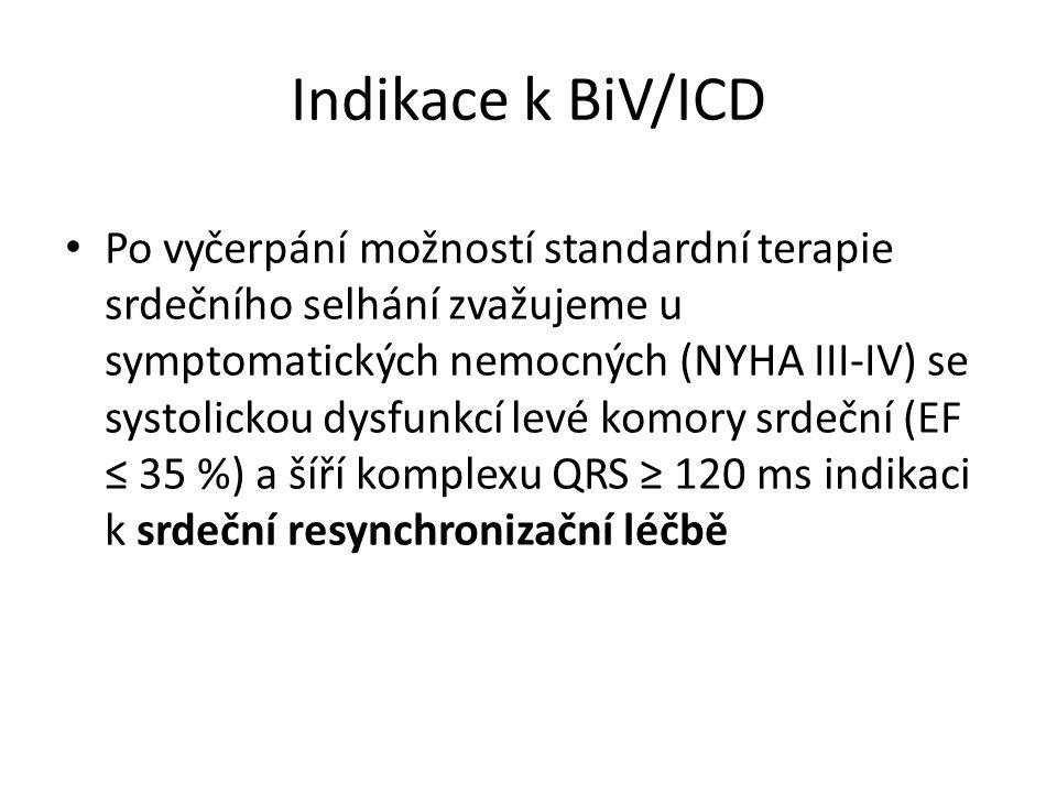 Indikace k BiV/ICD Po vyčerpání možností standardní terapie srdečního selhání zvažujeme u symptomatických nemocných (NYHA III-IV) se systolickou dysfunkcí levé komory srdeční (EF ≤ 35 %) a šíří komplexu QRS ≥ 120 ms indikaci k srdeční resynchronizační léčbě
