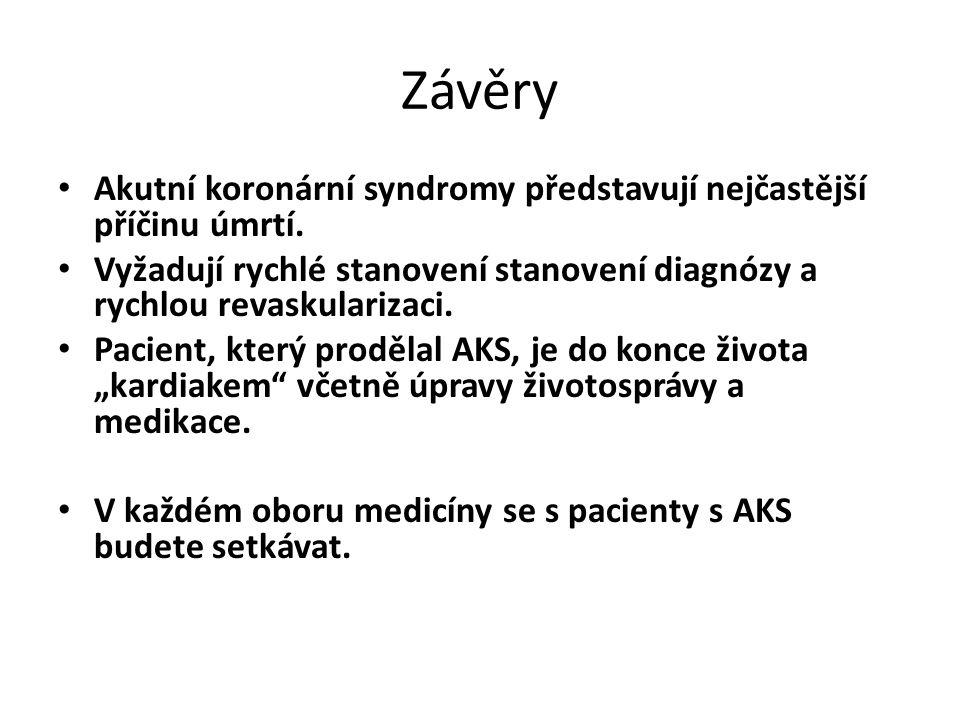 Závěry Akutní koronární syndromy představují nejčastější příčinu úmrtí.