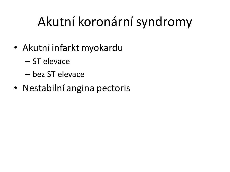 Akutní koronární syndromy Akutní infarkt myokardu – ST elevace – bez ST elevace Nestabilní angina pectoris