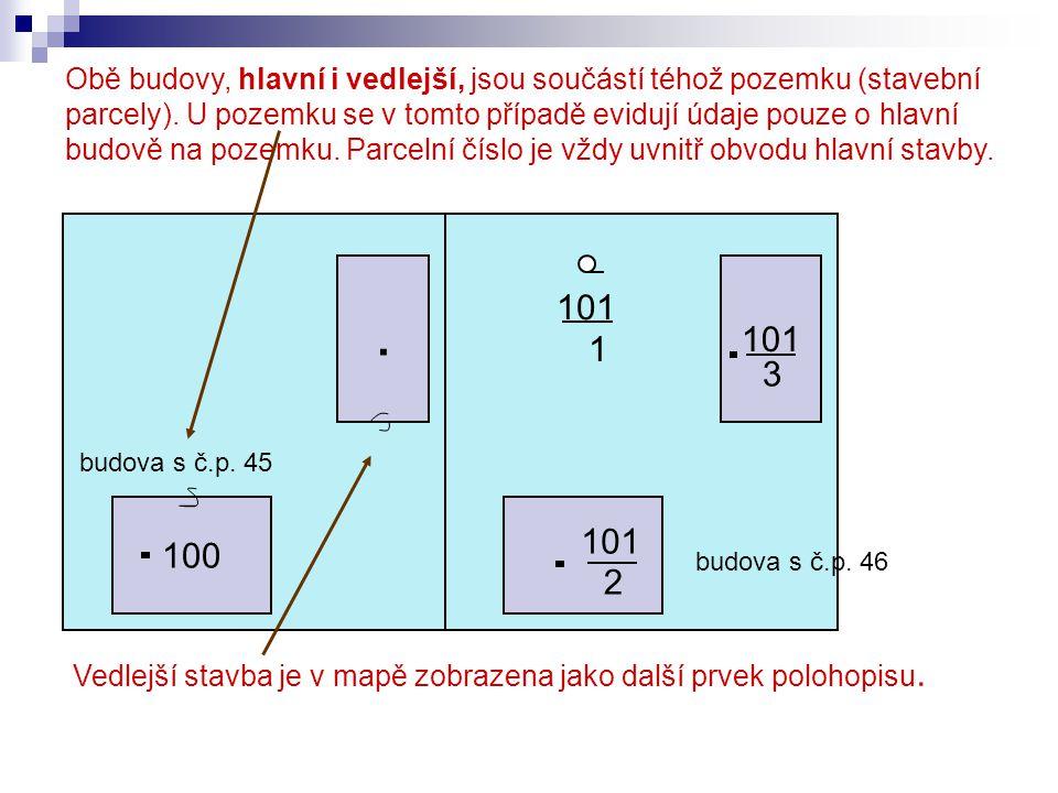 100. 101 1 2 3 Obě budovy, hlavní i vedlejší, jsou součástí téhož pozemku (stavební parcely). U pozemku se v tomto případě evidují údaje pouze o hlavn