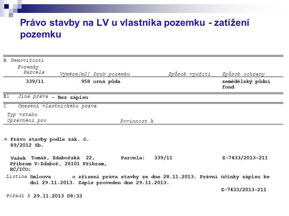 Právo stavby na LV u vlastníka pozemku - zatížení pozemku