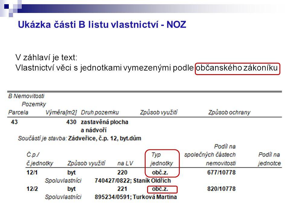 Ukázka části B listu vlastnictví - NOZ V záhlaví je text: Vlastnictví věci s jednotkami vymezenými podle občanského zákoníku