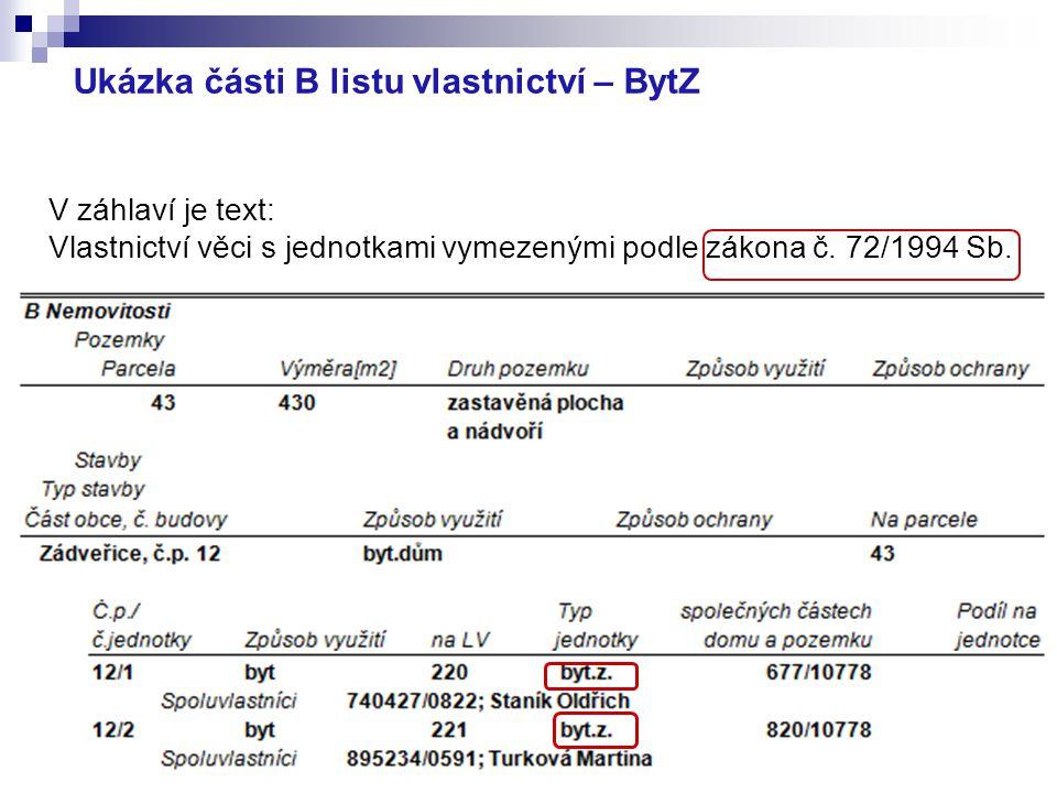 Ukázka části B listu vlastnictví – BytZ V záhlaví je text: Vlastnictví věci s jednotkami vymezenými podle zákona č. 72/1994 Sb.