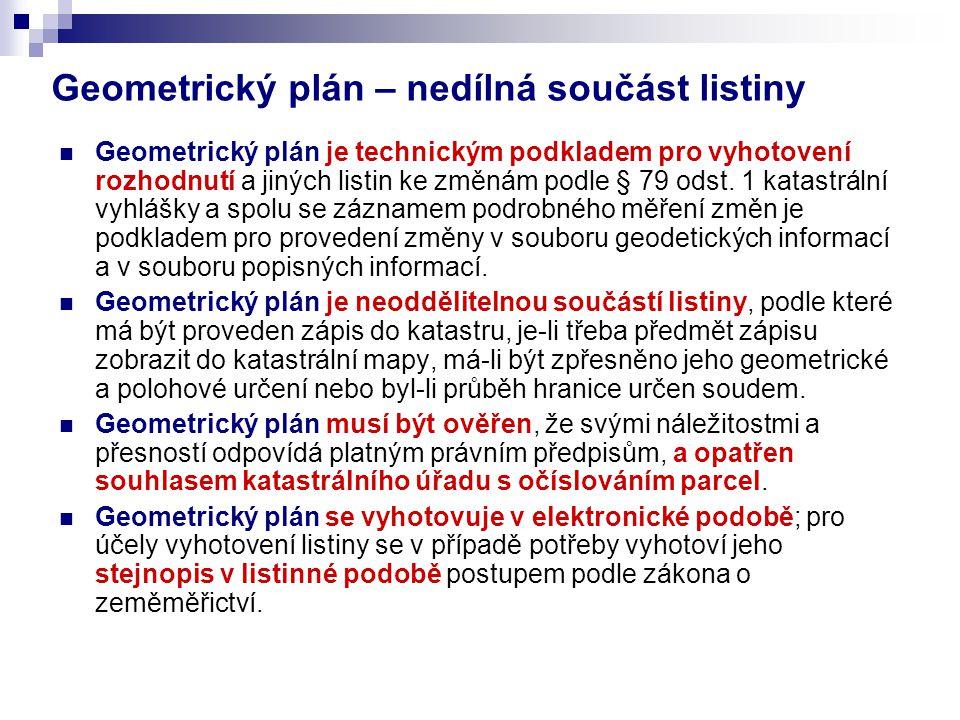 Geometrický plán – nedílná součást listiny Geometrický plán je technickým podkladem pro vyhotovení rozhodnutí a jiných listin ke změnám podle § 79 ods