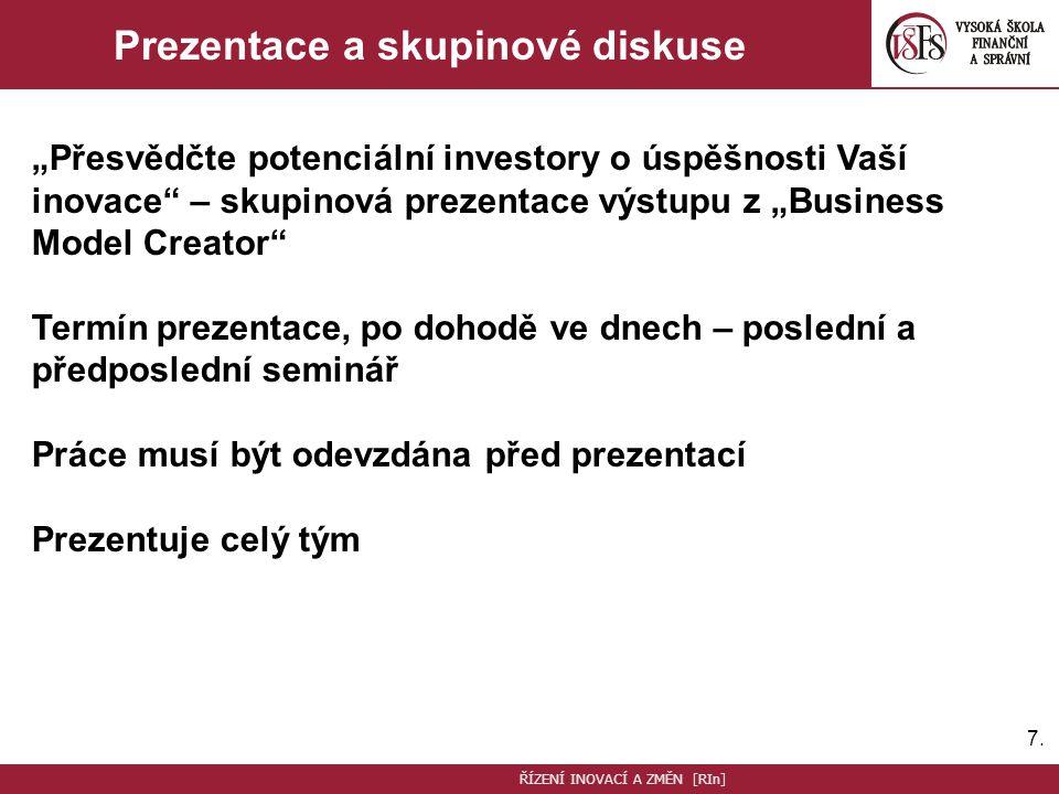 """7.7. Prezentace a skupinové diskuse """"Přesvědčte potenciální investory o úspěšnosti Vaší inovace"""" – skupinová prezentace výstupu z """"Business Model Crea"""