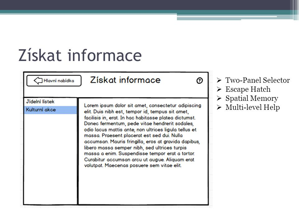 Získat informace  Two-Panel Selector  Escape Hatch  Spatial Memory  Multi-level Help