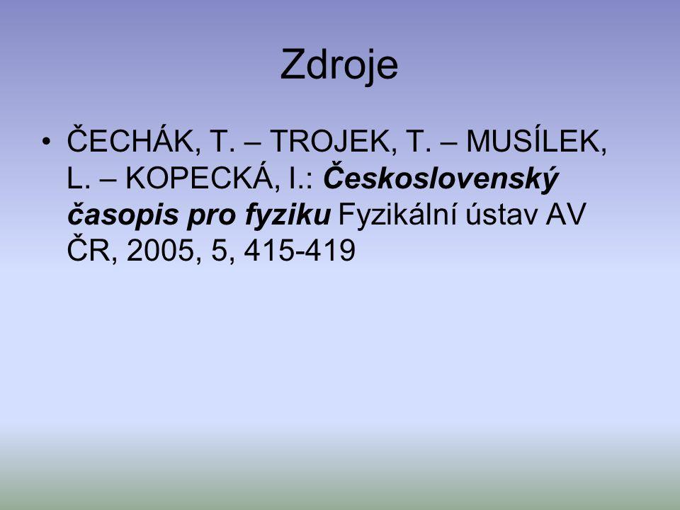 Zdroje ČECHÁK, T. – TROJEK, T. – MUSÍLEK, L. – KOPECKÁ, I.: Československý časopis pro fyziku Fyzikální ústav AV ČR, 2005, 5, 415-419