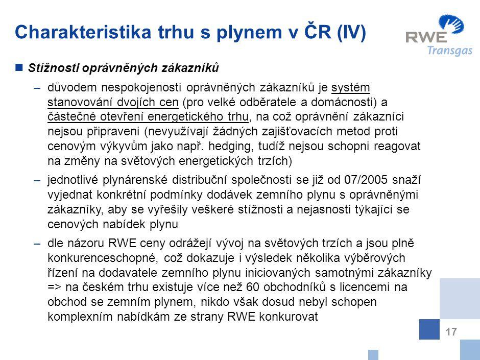 17 Charakteristika trhu s plynem v ČR (IV) Stížnosti oprávněných zákazníků –důvodem nespokojenosti oprávněných zákazníků je systém stanovování dvojích