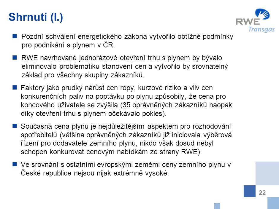 22 Shrnutí (I.) P ozdní schválení energetického zákona vytvořilo obtížné podmínky pro podnikání s plynem v ČR. R WE navrhované jednorázové otevření tr