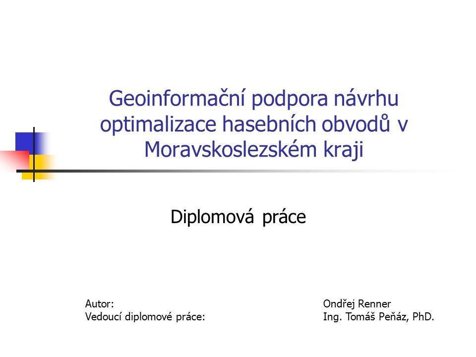 Úkoly Analýza dopravní dostupnosti v prostředí GIS na území Moravskoslezského kraje Porovnání výsledků analýzy s časovými údaji z databáze statistického sledování událostí v PO Navržení hranic hasebních obvodů jednotek PO Ověřit vliv případných mimořádných podmínek na kvalitu plošného pokrytí území jednotkami PO