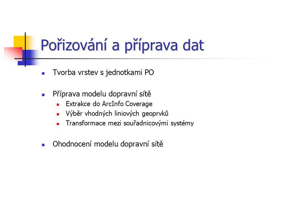 Pořizování a příprava dat Tvorba vrstev s jednotkami PO Příprava modelu dopravní sítě Extrakce do ArcInfo Coverage Výběr vhodných liniových geoprvků T