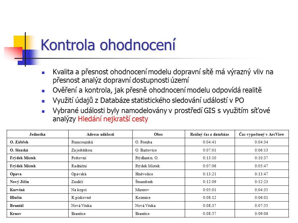 """Analýza dopravní dostupnosti území K realizaci analýz byl využit modul ArcView Network Analyst Kolem každé jednotky PO vymezeno 18 časových pásem po minutových intervalech """"S_AREA vs."""