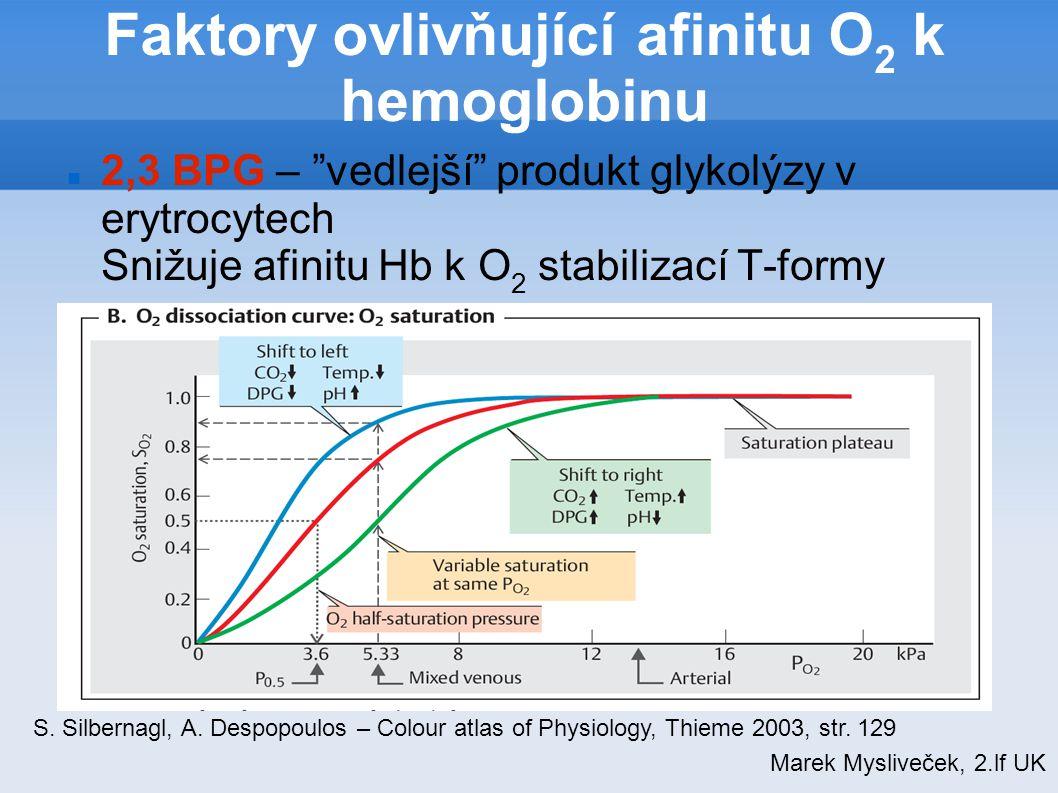 """Faktory ovlivňující afinitu O 2 k hemoglobinu 2,3 BPG – """"vedlejší"""" produkt glykolýzy v erytrocytech Snižuje afinitu Hb k O 2 stabilizací T-formy Marek"""