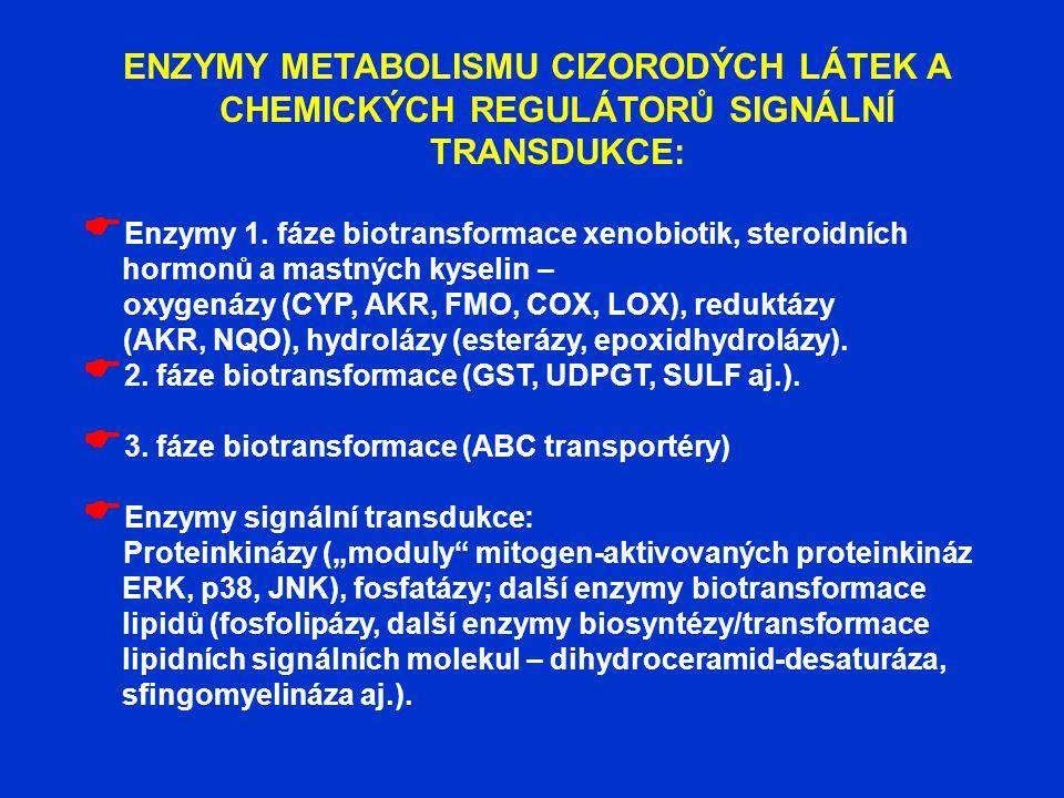 ENZYMY METABOLISMU CIZORODÝCH LÁTEK A CHEMICKÝCH REGULÁTORŮ SIGNÁLNÍ TRANSDUKCE:  Enzymy 1. fáze biotransformace xenobiotik, steroidních hormonů a ma