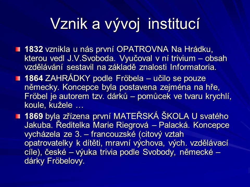 Vznik a vývoj institucí 1832 vznikla u nás první OPATROVNA Na Hrádku, kterou vedl J.V.Svoboda. Vyučoval v ní trivium – obsah vzdělávání sestavil na zá