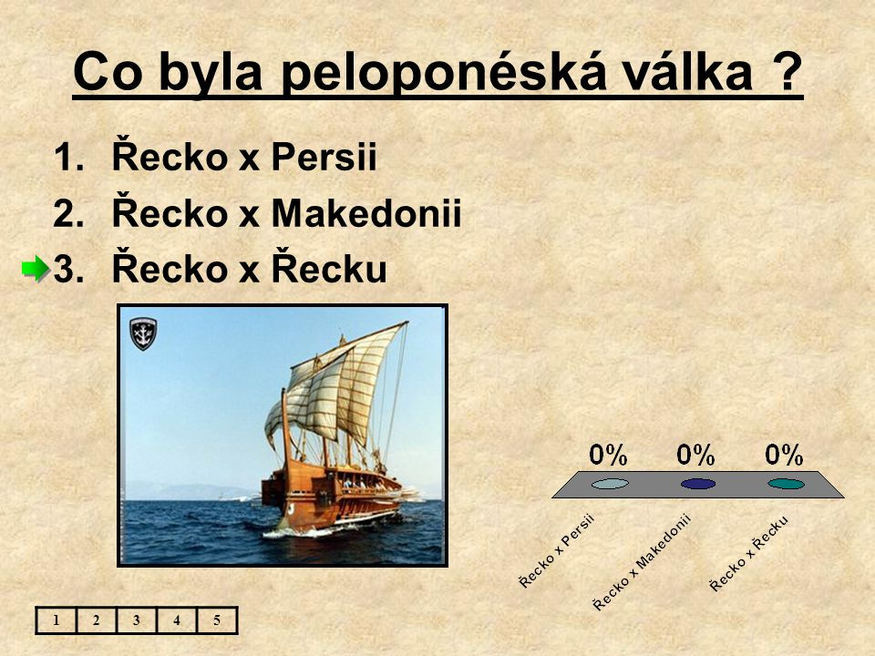 Co byla peloponéská válka ? 1.Řecko x Persii 2.Řecko x Makedonii 3.Řecko x Řecku 12345