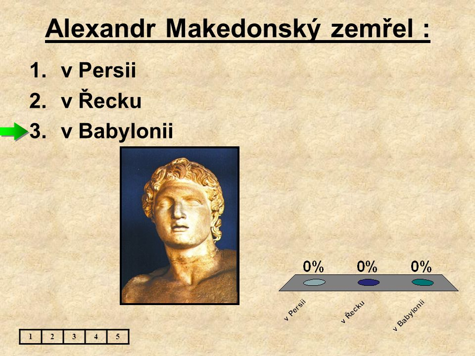 Alexandr Makedonský zemřel : 12345 1.v Persii 2.v Řecku 3.v Babylonii