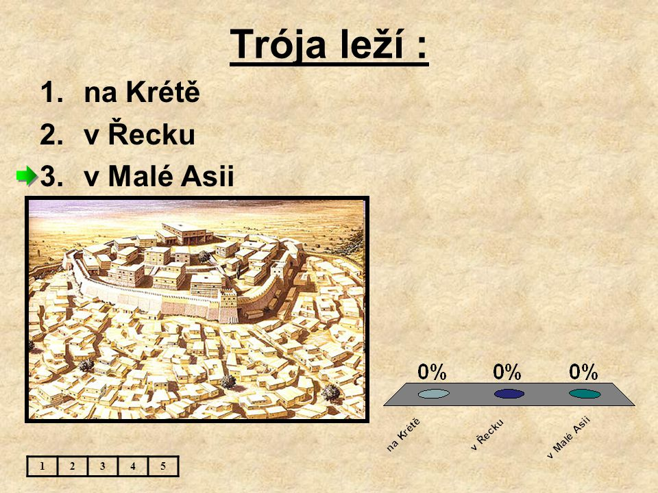 Trója leží : 1.na Krétě 2.v Řecku 3.v Malé Asii 12345