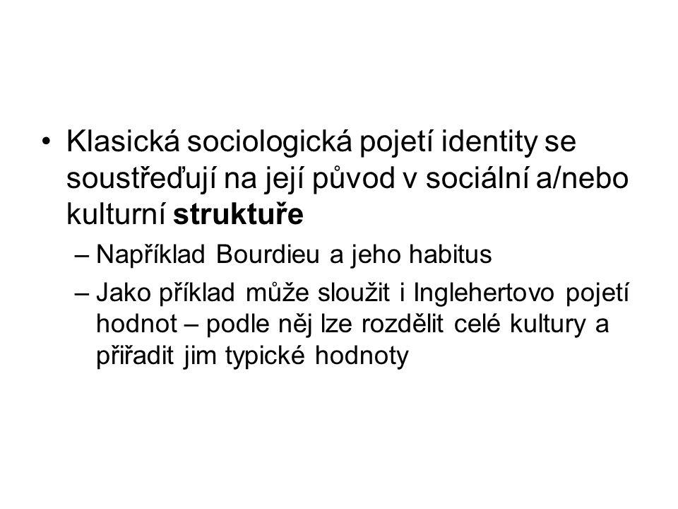 Klasická sociologická pojetí identity se soustřeďují na její původ v sociální a/nebo kulturní struktuře –Například Bourdieu a jeho habitus –Jako příkl