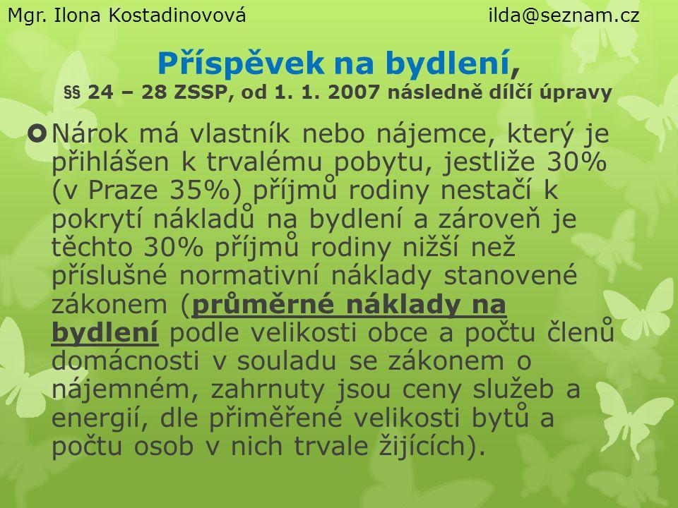 Příspěvek na bydlení, §§ 24 – 28 ZSSP, od 1.1.
