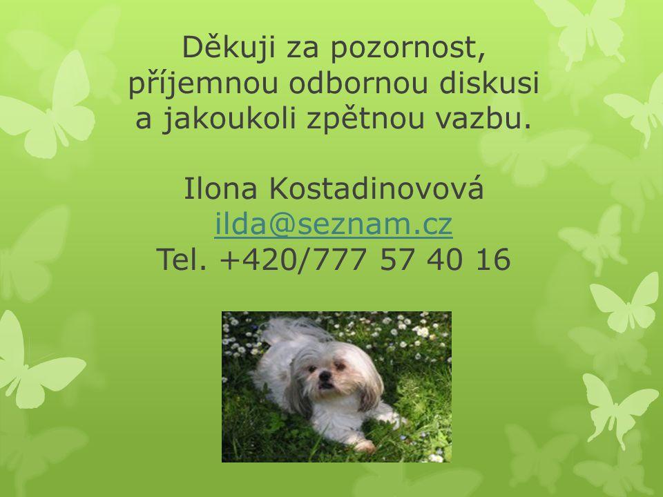 Děkuji za pozornost, příjemnou odbornou diskusi a jakoukoli zpětnou vazbu. Ilona Kostadinovová ilda@seznam.cz Tel. +420/777 57 40 16 ilda@seznam.cz