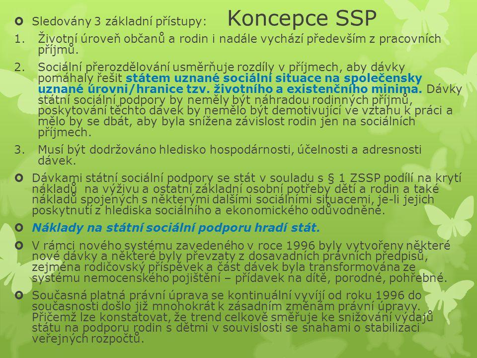 Koncepce SSP  Sledovány 3 základní přístupy: 1.Životní úroveň občanů a rodin i nadále vychází především z pracovních příjmů. 2.Sociální přerozdělován