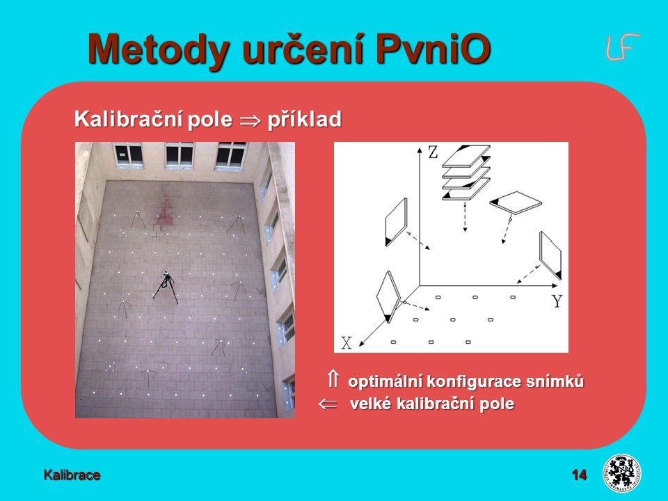 14 Metody určení PvniO Kalibrace Kalibrační pole  příklad  optimální konfigurace snímků  velké kalibrační pole  optimální konfigurace snímků  vel