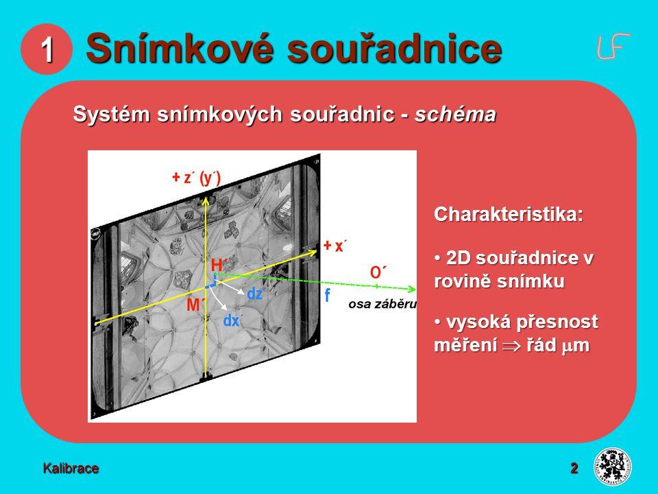 2 1 Snímkové souřadnice Systém snímkových souřadnic - schéma Charakteristika: 2D souřadnice v rovině snímku 2D souřadnice v rovině snímku vysoká přesn