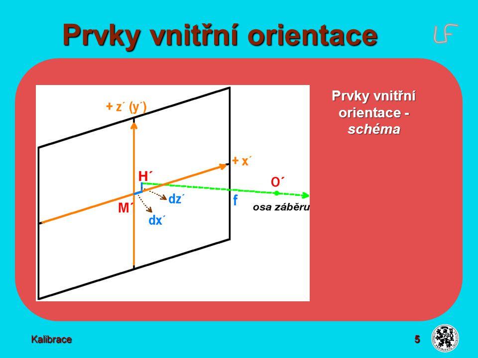 6 Prvky vnitřní orientace Kalibrace Konstanta komory f - vzdálenost středu výstupní pupily O´od hlavního bodu snímku H´ - zjednodušeně - nejkratší vzdálenost O´od roviny snímku - určena s přesností na 0,01 až 0,02 mm Poloha hlavního snímkového bodu H´ - v rovině snímku vzhledem ke středu snímku M´ - určena souřadnicemi dx´ dz´ (či dy´ v letecké FM) - známa s vysokou přesností 0,02 - 0,04 mm - ideálně H´ = M´