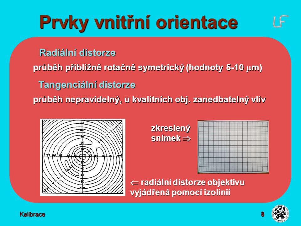 8 Prvky vnitřní orientace Kalibrace Radiální distorze Radiální distorze průběh přibližně rotačně symetrický (hodnoty 5-10  m) Tangenciální distorze T
