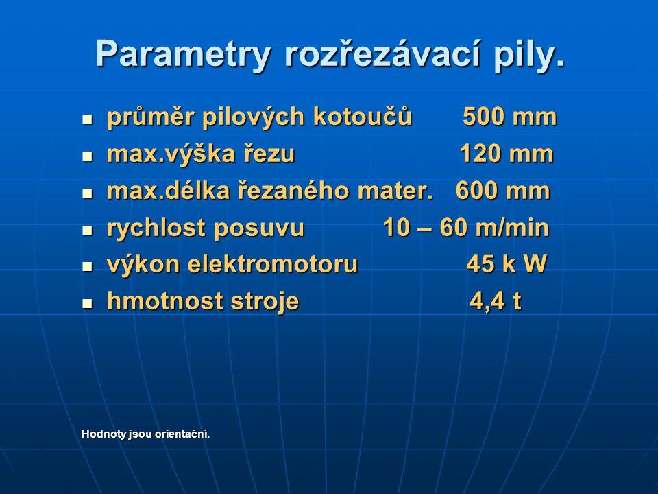 Parametry rozřezávací pily.