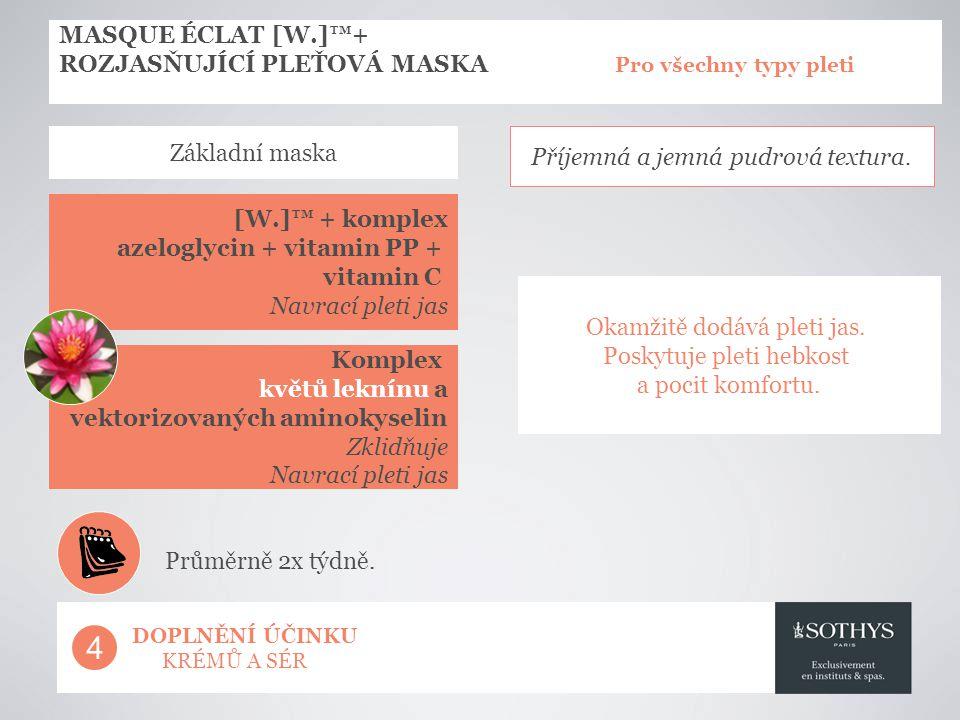 MASQUE ÉCLAT [W.]™+ ROZJASŇUJÍCÍ PLEŤOVÁ MASKA Pro všechny typy pleti [W.]™ + komplex azeloglycin + vitamin PP + vitamin C Navrací pleti jas Okamžitě dodává pleti jas.
