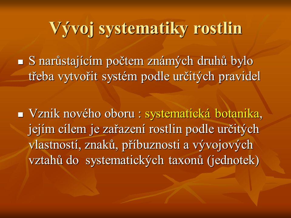 Vývoj systematiky rostlin Taxon = organismy vzájemně spojené podle příbuznosti a lišící se svými znaky od skupin jiných Taxon = organismy vzájemně spojené podle příbuznosti a lišící se svými znaky od skupin jiných