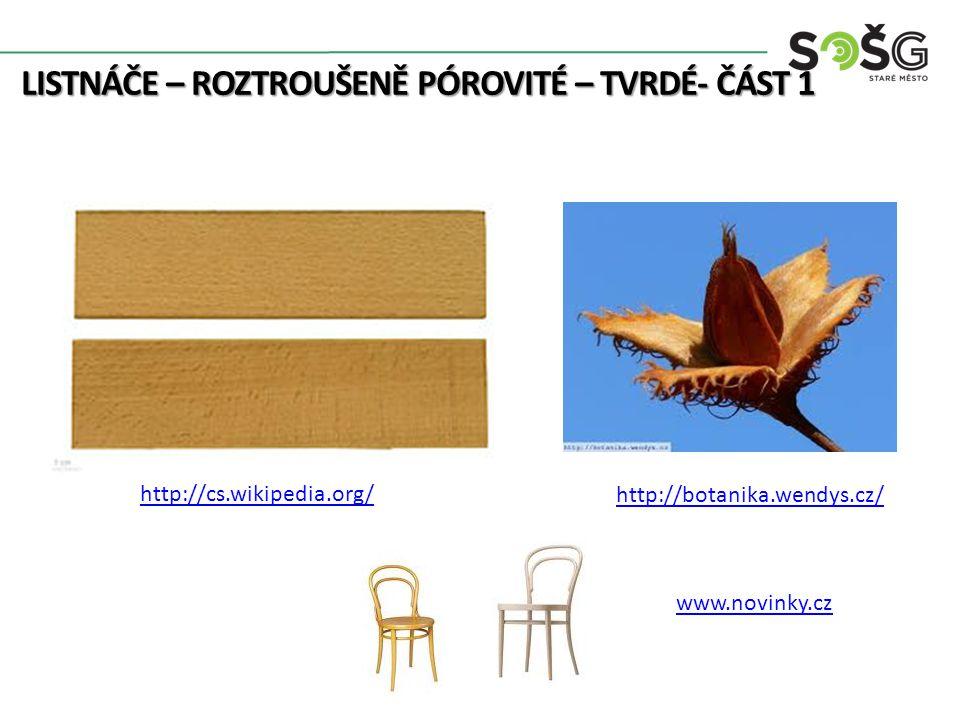 LISTNÁČE – ROZTROUŠENĚ PÓROVITÉ – TVRDÉ- ČÁST 1 Javor Klen – Acer Pseudoplatanoides – JV 20-40 m Listy laločnaté, pilkovité Bez jádra, na radiálním řezu kropenatost, bělavé dřevo 620 kg/m 3 Dřevo těžké, pevné, tvrdé, ve vodě málo trvanlivé Použití: dýhy, drobné předměty, hudební nástroje 6