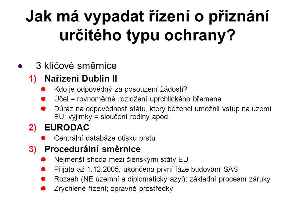 Jak má vypadat řízení o přiznání určitého typu ochrany? 3 klíčové směrnice 1)Nařízení Dublin II  Kdo je odpovědný za posouzení žádosti?  Účel = rovn