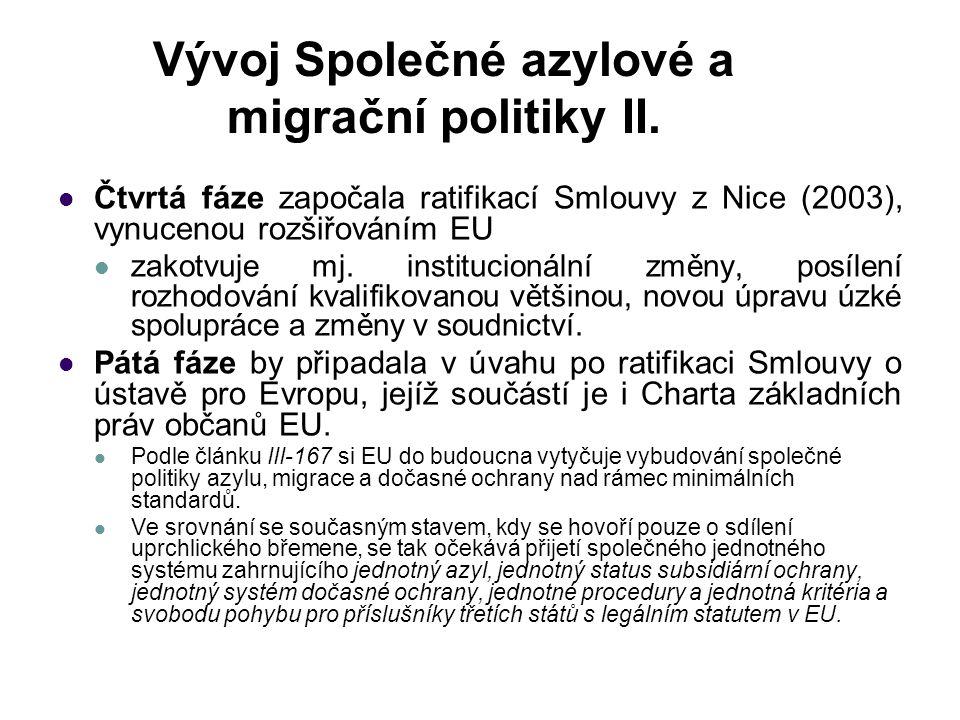 Vývoj Společné azylové a migrační politiky II. Čtvrtá fáze započala ratifikací Smlouvy z Nice (2003), vynucenou rozšiřováním EU zakotvuje mj. instituc