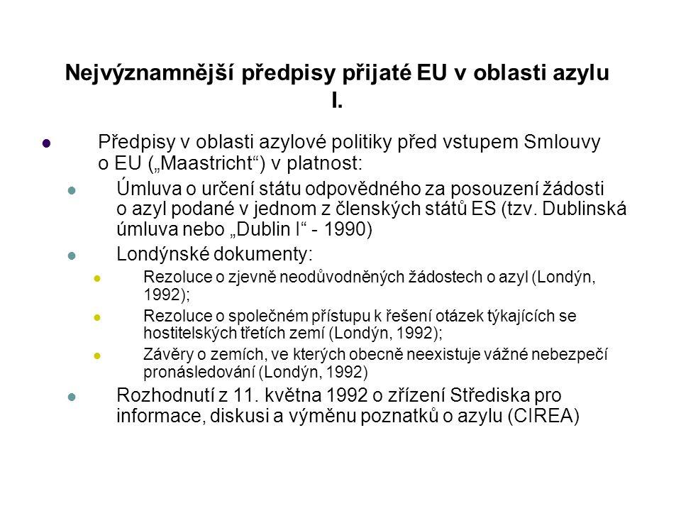 """Nejvýznamnější předpisy přijaté EU v oblasti azylu I. Předpisy v oblasti azylové politiky před vstupem Smlouvy o EU (""""Maastricht"""") v platnost: Úmluva"""