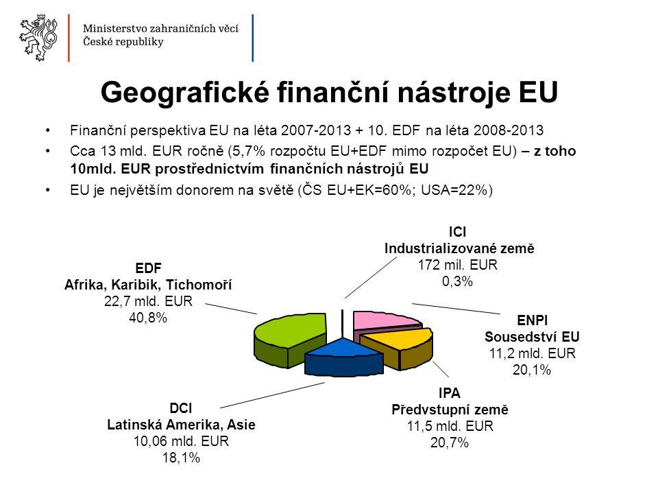 Tematické finanční nástroje EU Tematické programy DCI: -NGOs a místní úřady v rozvoji -Životní prostředí a udržitelný management přírodních zdrojů vč.