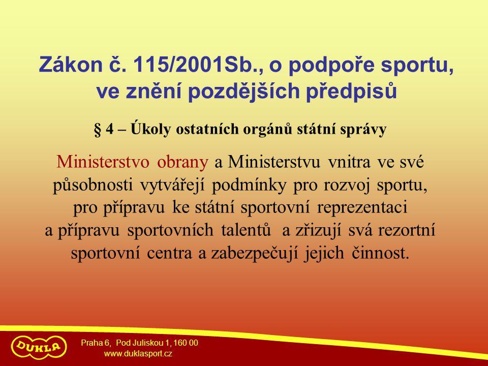 Praha 6, Pod Juliskou 1, 160 00 www.duklasport.cz Zákon č. 115/2001Sb., o podpoře sportu, ve znění pozdějších předpisů § 4 – Úkoly ostatních orgánů st
